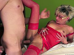 A crazy cock loving granny loves being pummeled in lots of positions by fresh faced fuckers that love old holes.