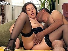 Dark-haired hottie Jana Puff is getting naughty with her BF indoors. She lets him eat her pussy and then demonstrates her astonishing cock-sucking skills.