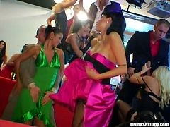 A lot of drunk and hussy chicks go wild on the dance floor. They suck and fuck like crazy. enjoy them all for free in exclusive Tainster porn tube video.