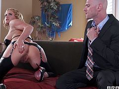 She a great wife, baking cookies and doing housework are her main priorities, but when Krissy feels horny she turns herself from the perfect wife into a dirty, cheap whore. Look at her, sick and tired of her everyday life the bitch waits for her husband to leave and acts naughty with a black guy, but he caught her!