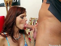 Redhead mom Syren De Mer gives a head