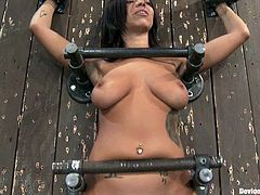 There's some hot BDSM action going on here with the sexy brunette Halie James who needs some punishment for some reason.