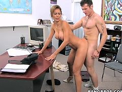 The thing that this lady hires only men for the position of her assistant give the feeling that she is a naughty nymph. So she goddamn is! Rare office fucking session!