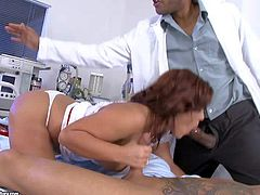 Long haired smoking hot brunette milf Amanda Black with big jaw dropping hooters and bouncing ass in red shoes gets pounded in doggy style position in arousing threesome in hospital