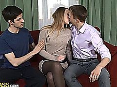 Hanna likes to stop and visit her two boyfriends after school for a little suck and fuck party.