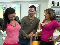 Two busty chicks Halie James and Heaven Summers came at the salon and met sexy barber who enjoys to feel their big boobs and dreams about hot threesome action.