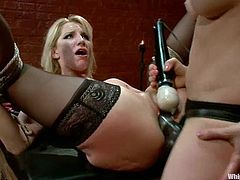 Ashley Fires and Lorelei Lee make hot show. Lorelei Lee gets tied up and then fucked with a strap-on in her vagina and ass.