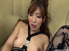 This Japanese nympho can reach orgasm on her own. Ardent pale slut is pro in pussy tickling. Kinky wanker with droopy boobs wears black crochless bikini and desire to gain dozen of pleasure. Be also satisfied today. Press play and enjoy Jav HD sex clip.