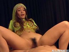 What a lusicous and gorgeous Kokomi Sakura is! Babe is wearing an Indian trad dress and riding her man's dick in a reverse cowgirl style!