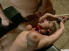 Sexy brown-haired chick Felony is getting naughty with Mark Davis in a foul basement. She lets the dude tie her up and then enjoys his schlong in her mouth, pussy and asshole.