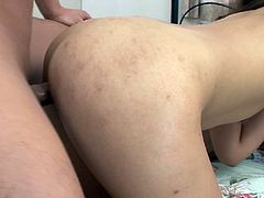 Palatable Asian brunette was born both to ride and suck dicks. Torrid whore with pale butt enjoys being fed with sperm and never refuses to get her rather hairy pussy polished doggy. Jav HD threesome sex clip is waiting for you right here and now.