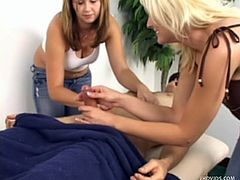 Valentino goes in to get a massage from two beauties: Cindy and Erin. They rub his body with lotions and oils. He gets a happy ending. Cindy jerks him to make him cum in her mouth. However, he doesn't get to see either girl naked.