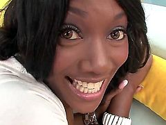 Beautiful black princes Nyomi Banxxx is being hotly pleased by her white boyfriend; he is excitingly