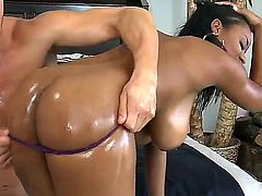 Danny Mountain uses his rock solid ram rod to make blowjob addict Ebony Alia Starr happy
