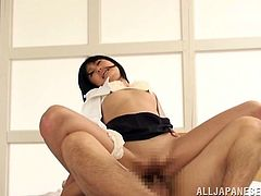 Japanese bitch sucks her man's dick before taking it in her snatch