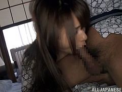 This Japanese girl wakes up because her hubby licks her nipples and pussy. Then she gives him a blowjob and gets fingered.