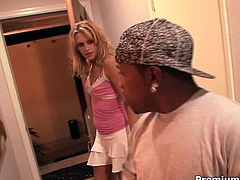 This blonde whore is amazing and she knows that she is driving her black friend crazy. She lets him lick her pussy and then he gets his chance to fuck her hard.
