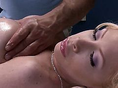 Amazing blonde pornstar Candy Manson with the perfect body, big boobs and gentle skin. Her masseur Ramon cant hide his erected dick and the hot sex scene begins. Enjoy this video!
