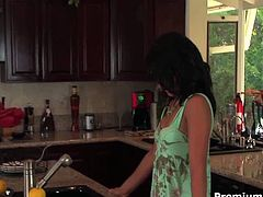 Tasty looking young brunette babysitter hooks up with her boss in the kitchen. He forces her moral fuck his sturdy penis before she gets on it for a ride in cowgirl and later in reverse cowgirl styles until he jizzes on her pretty face.