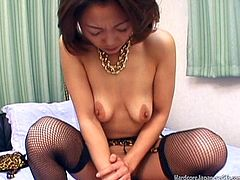 Take a look at this hardcore scene where a horny Japanese babe has her hairy pussy creamed by this guy's hard cock.