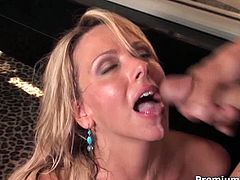 Busty mesmerizing mom rides young energetic dude before getting hot cum on her face