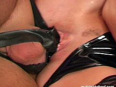 Smoking hot blondie in sexy black stockings lets her horny lover lick her tasty pussy. Later he fucks her shaved snatch in sideways position.