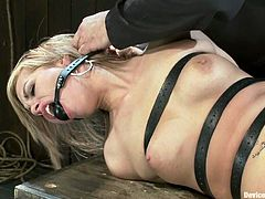 Admirable blonde Tara Lynn Foxx lets some man tie her up in a basement. The dude tortures the girl and enjoys the way she moans in pleasure.