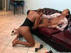 She is very impressed by the size of his dick so she gets down to business right away. She takes it in her mouth and sucks it greedily. When his cock gets hard enough she rides it like a cowgirl. Then he fucks her tight asshole hard to powerful orgasm.