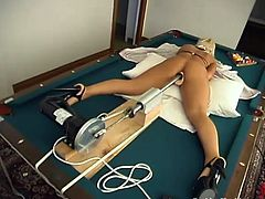 Well-endowed blonde Melissa Dettwiller wearing sexy clothes is having some good time alone. She strokes her amazing body and then gets her pussy pounded by a fucking machine.