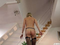 Tall blondie in stockings Lucy Heart rides the dick of lucky old bastard