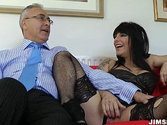 Well stacked black haired mommy wearing black stockings and gets her big ass spanked. Then she easily deepthroats her man's huge dick.
