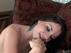 This nasty brunette is ready to turn into reality all your dirty dreams. Her sex partner reaches the bottom of her throat with his big cock and after drills her anus hard.