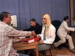 Pack of Porn sex clip provides you with a really voracious blond clerk. This slut with in glasses, tight blouse and stockings is ready for everything to seal the deal. Spoiled whore stretches legs wide to be fucked missionary right on the floor. Gosh, this business woman is surely hot like hell...