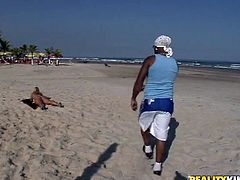 During jugging at the beach, sex hungry black daddy notices a tasty blond mature in seductive tiny bikini. He gets to her to look at her closer in order to lure her to bed in sultry interracial sex video by Reality Kings.