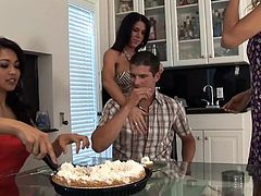 Jarod Diamond is celebrating his birthday and these three sexy cougars make him a creampie to celebrate. He gets his dick sucked too because a pie is just not enough. Mika sucks his dick real hard with her sexy Asian lips.