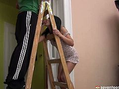 Slutty brunette amateur helps to her daddy's friend with home repair, which ends up with a hot sex session. She sucks his sturdy penis while he stands on a ladder before he pays her back with a tongue fuck.