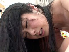 Alluring Japanese babe gets double fucked while riding an aroused dude in cowgirl style before she lies on her back to continue getting poked in missionary style in sizzling hot threesome sex video by Jav HD.