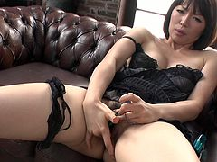 Hot blooded Japanese milf in steamy black lingerie pounds her stretched vagina with fingers before she takes vibrating egg to continue masturbation. Later gives a head to aroused dude in steamy sex video by Jav HD.