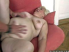Short haired mature fat blonde whore with big belly stuff her hairy twat with gigantic dildo while sucking young tattooed stud and gets pounded hard to orgasm in close up