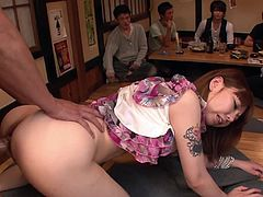 Gorgeous Japanese babe with huge ass Minami Kitawaga gets fucked in mish and doggy poses by two guys right on the table. Bitch gets her snapper filled with two loads of jizz.