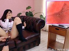 You have never seen something so bizarre as this. Young schoolgirl Yui Fujishima gets masturbated with a hitachi and while this is done she has a camera shoved in her pussy. She gets to see first hand what her insides look like when she cums.