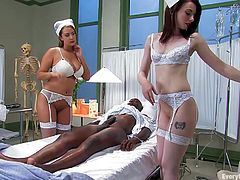 Check out this hardcore interracial scene where two slutty sailors have a threesome with a big black cock that stretches out their assholes.