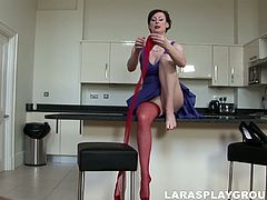 Brunette from Britain has a strong desire to be pleased today. She invited her old neighbor home. Wearing blue short dress, red stockings and heels spoiled nympho seduces him and stretches legs wide right in the kitchen for being satisfied right away.