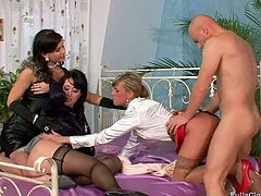 Wow! These girls are extremely hot! They go straight to the action, riding his stiff cock one by one. Dude, I'm kinda sure you will enjoy watching this awesome foursome video!