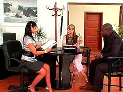 Being horny from birth secretaries look just gorgeous even when they're dressed in office suits and blouses. Wondrous slim nymphos seduce their black client for teasing his strong dick right away. Check these too kinky sluts in Tainster sex clip and dozen of pleasure is guaranteed.
