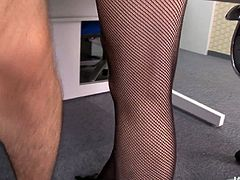 Arousing Japanese babe in seductive fishnet stockings sits in a chair with legs spread wide in the office while insatiable dude pokes her hairy snatch with a dildo and teases her clit with a vibrator before she inclines to oral fuck his sturdy cock.