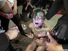 Sweet slim dark-haired girl is playing dirty games with Lorelei Lee, Mark Wood and their friends. The guys torture the cutie and then fuck her nice holes with all kinds of toys.