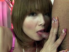 Hot tempered Japanese milf gets her bearded pussy teased with sex toy and later her asshole pounded with anal beads while she gives an oral fuck to 2-inch dick.