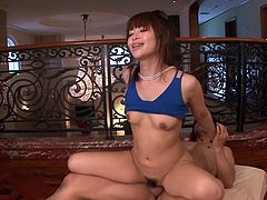 Curvy dark haired Asian vixen Maika gets her hairy twat shagged by two cocks in turn. She rides on top, fucks doggystyle and finally gets her tight snatch creampied in missionary pose.