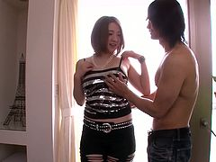 Fluffy pale skin Japanese Alice Ozawa in foreplay with two guys